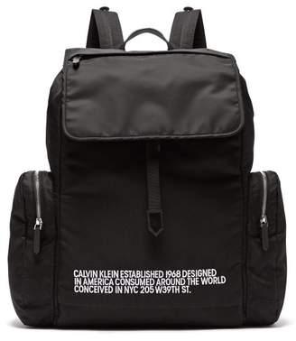 Calvin Klein Logo Embroidered Nylon Backpack - Mens - Black White