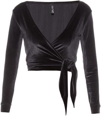 LISA MARIE FERNANDEZ Dree velvet wrap top $290 thestylecure.com