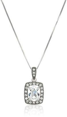 clear Sterling Silver Crystal Oval Shape Pendant Necklace