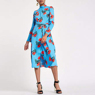 River Island Blue floral print high neck midi dress