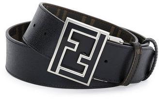 Fendi Reversible Zucca-Print Enamel-Buckle Belt $550 thestylecure.com