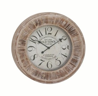 3.1 Phillip Lim DecMode Decmode Farmhouse Inch Distressed Wood Round Vintage Wall Clock, Sepia Brown