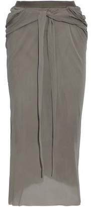Rick Owens Gathered Silk-Crepe Midi Skirt
