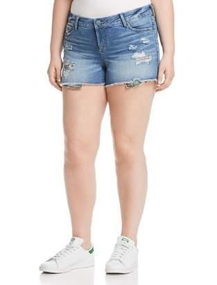 SLINK Jeans Plus Camo Pocket Distressed Denim Shorts