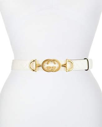 4cd4dba70 Gucci Quilted Leather Belt w/ Interlocking G Horsebit Buckle