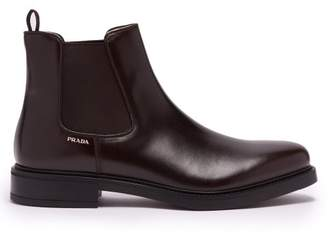 Prada Leather Chelsea Boots - Mens - Burgundy