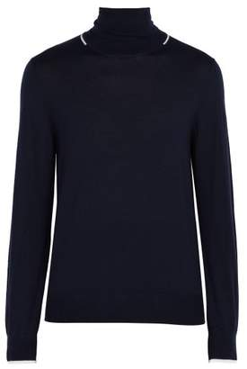 Joseph Contrast Striped Wool Sweater - Mens - Navy