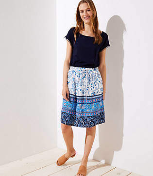 LOFT Tall Border Floral Pocket Drawstring Skirt