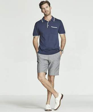 Todd Snyder Italian Silk/Cotton Tipped Knit Polo in Navy