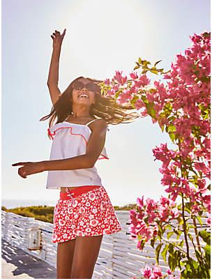 Boden Mini Girls' Broderie Vest Top, White