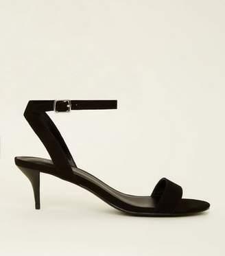New Look Black Suedette Kitten Heel Sandals