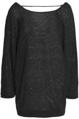 Brunello Cucinelli Open-Back Sequined Linen And Silk-Blend Sweater