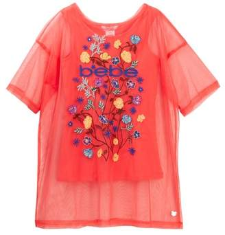 Bebe Tulle Embroidered Top (Big Girls)