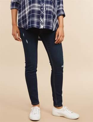 abab8cf8f319b Motherhood Maternity Indigo Blue Under Belly Skinny Leg Maternity Ankle  Jeans