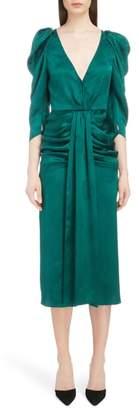 Magda Butrym Ruched Silk Jacquard Midi Dress