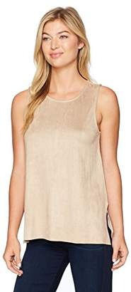 True Grit Dylan by Women's Luxurious Soft Faux Suede Bandit Sleeveless Slit Shell Top