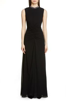 Fabiana Filippi Embellished Neck Sleeveless Silk Chiffon Gown