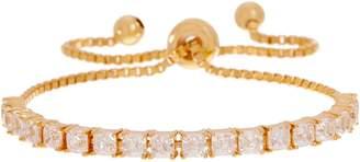 Diamonique Asscher Adjustable Bracelet, Sterling Silver