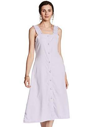 Oasis Wild Women's Solid Square Neck Dress with Button and Strap Detaling (