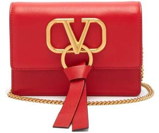 Valentino V Ring Mini Leather Cross Body Bag - Womens - Red