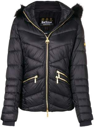 Barbour furry hood padded jacket