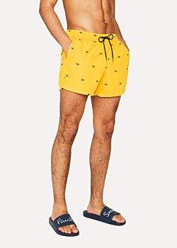 Paul Smith Men's Yellow Swim Shorts With 'Sunglasses' Embroidery