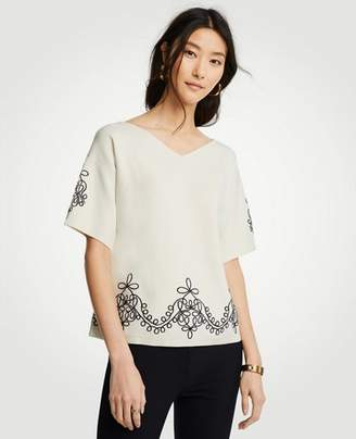 Ann Taylor Embroidered Short Sleeve Sweater