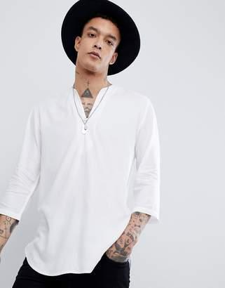 Asos DESIGN Regular Fit Longline Viscose Shirt In White With V Neck