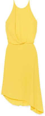 Halston Asymmetric Draped Crepe Dress - Yellow