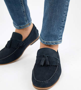 Asos Design Wide Fit Tassel Loafers In Navy Suede With Fringe And Natural Sole