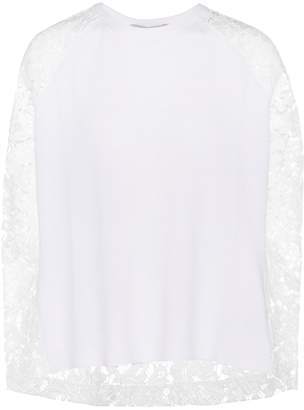 Valentino Lace-panelled wool and cashmere sweater