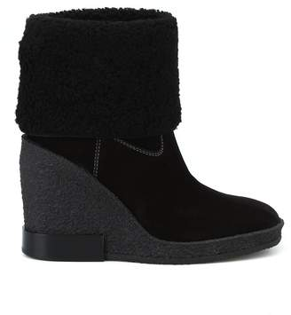 Tod's Black Suede Crepe Rubber Wedge Ankle Boots