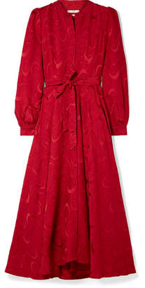 Co Belted Satin-jacquard Midi Dress - Red