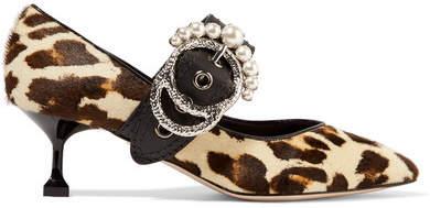 Miu Miu - Embellished Leather-trimmed Leopard-print Calf Hair Pumps - Leopard print
