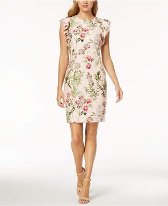 Tommy Hilfiger Printed Flutter-Sleeve Sheath Dress