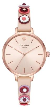 Kate Spade Metro Applique Leather Strap Watch, 34mm