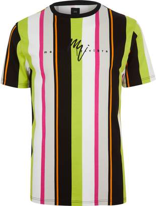 River Island Mens Neon green stripe slim fit T-shirt