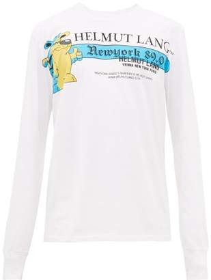 Helmut Lang Radio Print Long Sleeved Cotton T Shirt - Mens - White