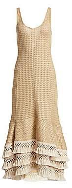 3.1 Phillip Lim Women's Crochet-Knit Fringe Trim Dress