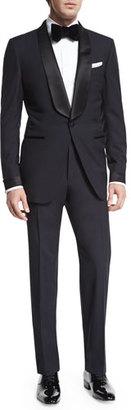 TOM FORD O'Connor Base Shawl-Collar Tuxedo, Navy $4,620 thestylecure.com