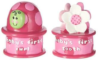 Baby Essentials Pink Tooth and Curl Holder Keepsake Set