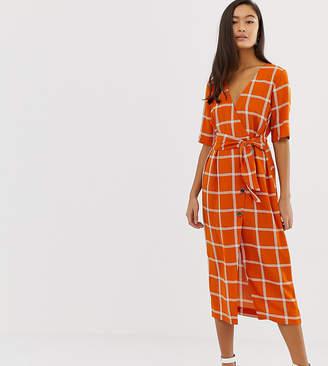 Miss Selfridge midi wrap dress in check