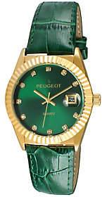 Peugeot Women's Goldtone Coin Bezel Green Leather Watch