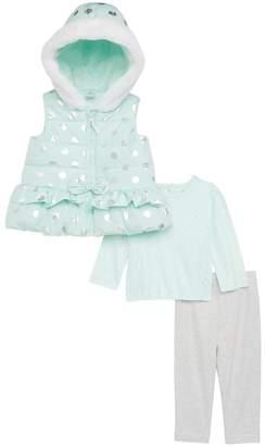 Little Me Foil Dot Hooded Quilted Vest, Tee & Leggings Set (Baby Girls)
