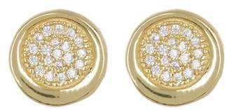 Argentovivo 18K Gold Plated Sterling Silver Pave Crystal Circular Stud Earrings