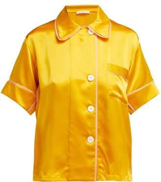 Araks Shelby Silk Satin Pyjama Top - Womens - Yellow