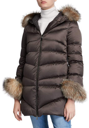 Moncler Cantis Fur-Cuff Puffer Coat w/ Fur-Trim Hood