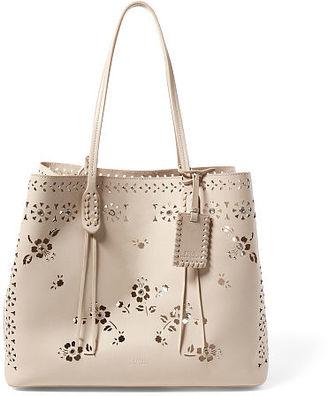 Polo Ralph Lauren Laser-Cut Floral Leather Tote $398 thestylecure.com