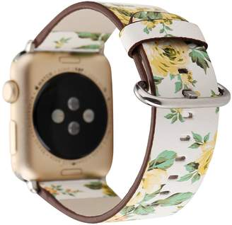 Beautea Floral Apple Watch Band With Soft PU Leather Pastoral/Rural Style Replacement Strap Wrist Band with Silver Metal Adapter for Apple Watch,42mm