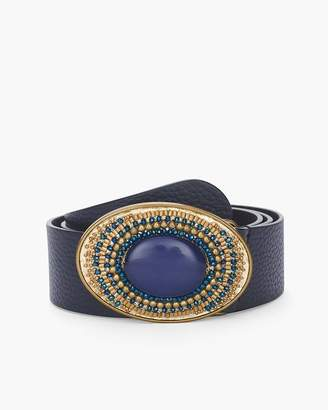 Chico's Navy Beaded Buckle Belt